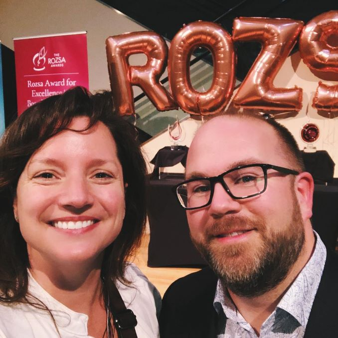 Suzy Vadori with Brendan Lord, Executive Director, Choir Alberta. This picture was taken at the 2019 Rozsa Foundation Awards, where Brendan was shortlisted for his excellence in Arts Management. Suzy was asked to write and perform a short story about Brendan's accomplishments in the style of Young Adult Fantasy, as a fun way to honor his success.