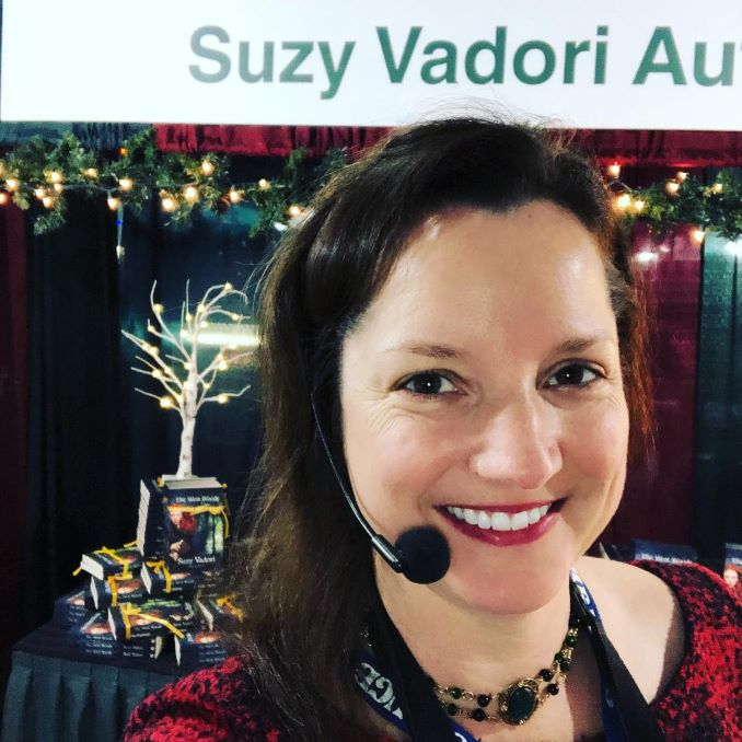 Suzy Vadori appears at many community events to meet with the public and talk books! This photo was taken at Spruce Meadows International Christmas Market in 2019.
