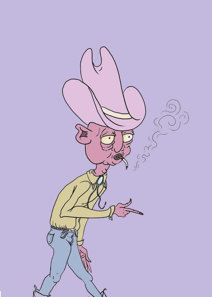 9 - Roth I enjoy drawing strange little dudes that compel the viewer to write their backstory, such as this old cowboy.