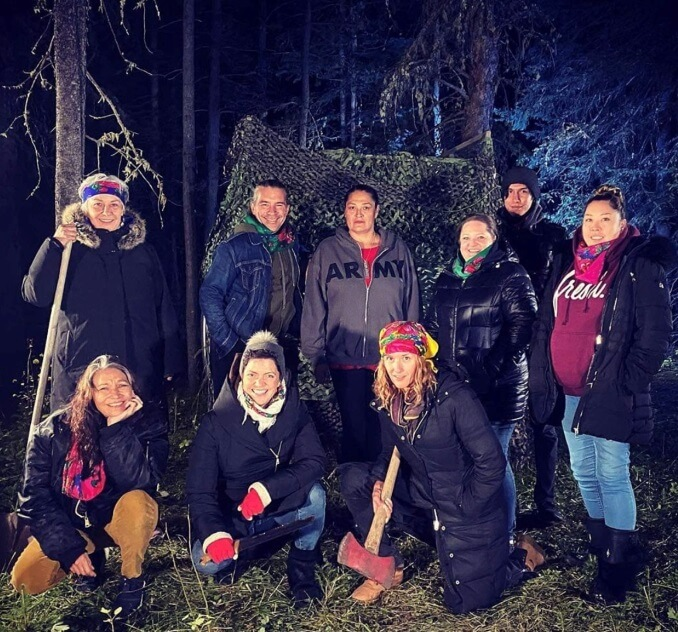 Downstage and Article 11 Cast and Creative team on set (after filming Deer Woman)