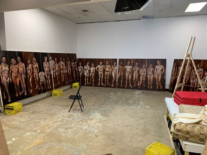 "Mark My ""Real people"" series. 40' long."