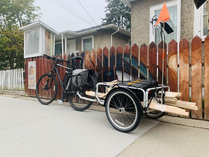 "Mark My ""ride"" that gets me from home to the studio everyday. That in my house in Bridgeland with the fence mural and Little gallery."