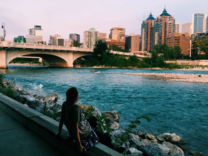 EJ Chilling at the Bow River Pathway.