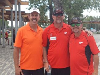 Jamie McCoun (left), Colin Patterson and Theo Fleury (right). They all played together on the Calgary Flames and this photo was taken at our Victor Walk in Calgary in 2018.
