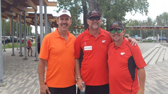 Jamie McCoun (left), Colin Patterson and Theo Fleury (right). They all played together on the Calgary Flames. The Breaking Free Foundation Victor Walk in Calgary, 2018.