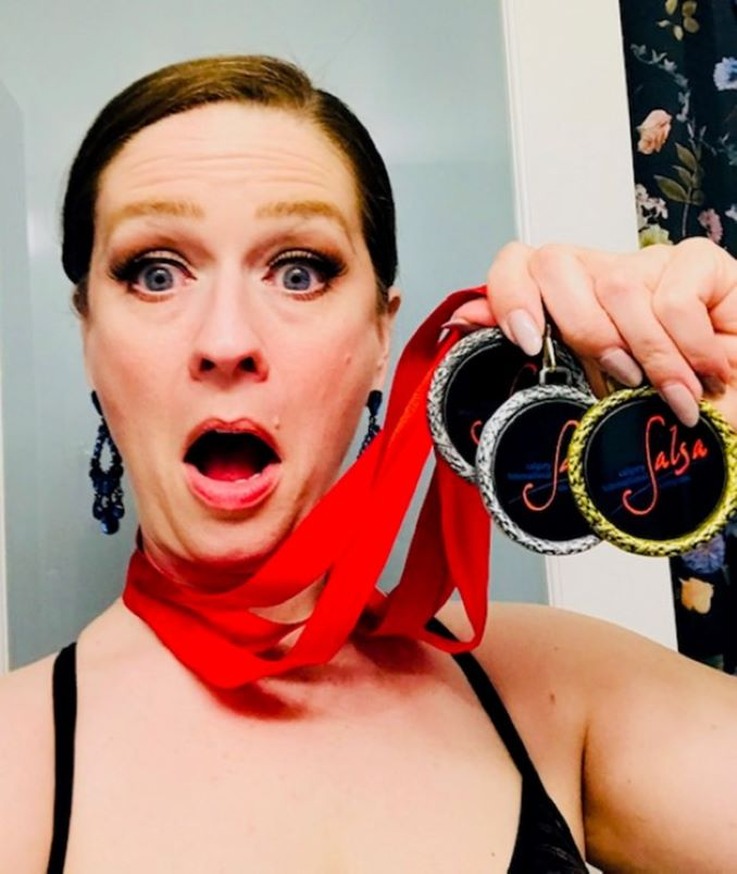Three years ago I started Latin dance as a hobby and in 2019, won 3 medals at the Calgary International Salsa Congress. Pictured here…my surprise.
