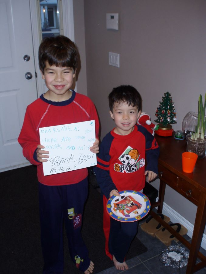 Will's sons, Genki and his brother Yuki Ferguson after a visit from Santa in Garrison Woods