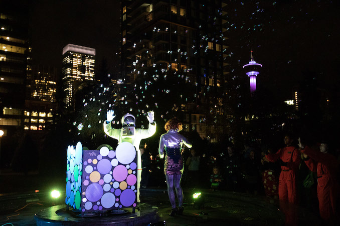 Cosmic Walk, a night of projection mapping, music and bubbly surprises at the Central Memorial Park with the City of Calgary, Emmedia Gallery & Production Society and Beakerhead, photo by AZMA, 2019.