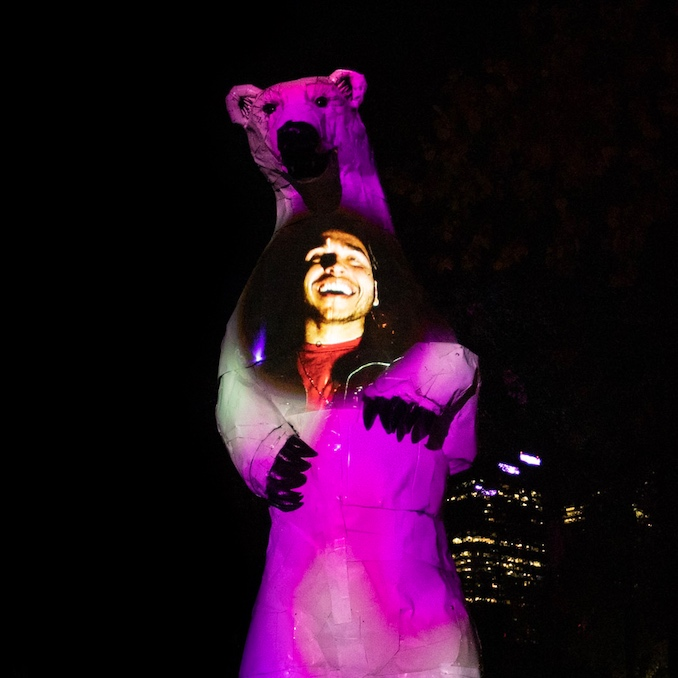 Longview Polar Bear, Sculpture by Don Kennell, heartbeat activated interactive projection mapping by AZMA. Beakerhead 2019. Photo by AZMA, 2019.