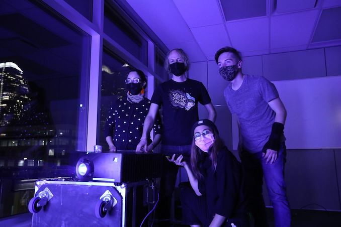 Behind the scenes - here is the AZMA team on install day of Gravitation. (left to right) Laura Anzola, Matthew Waddell, Uii Savage, and Marc Lavallee. 2020.