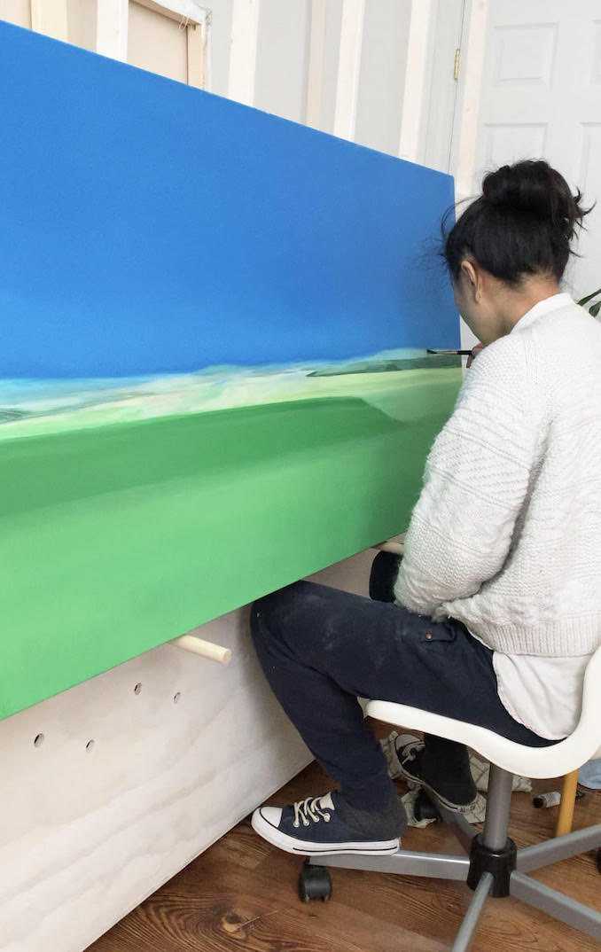 During the winter, I spend most of my time painting in my home studio.