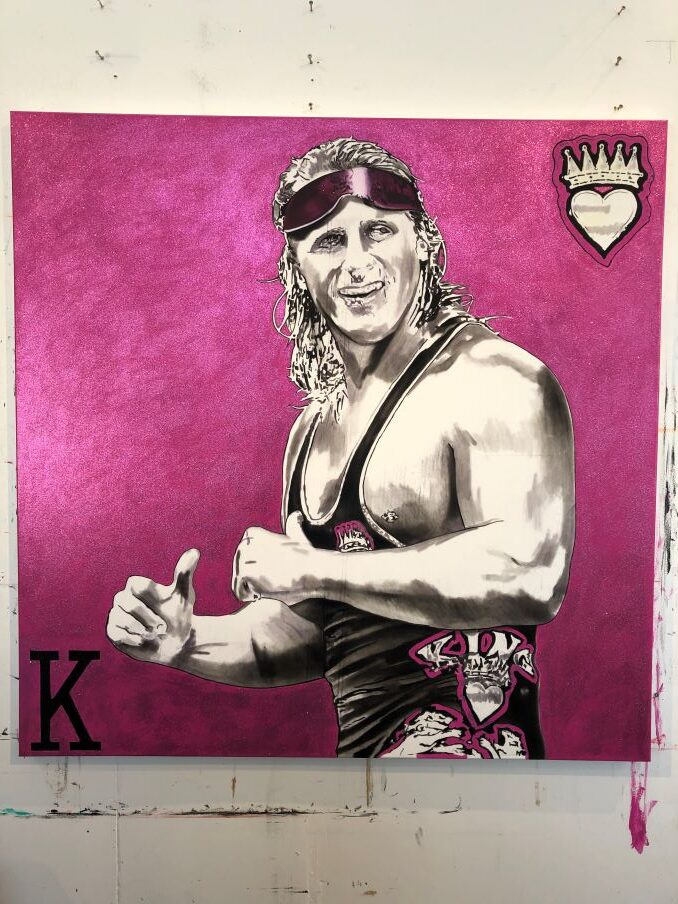 A completed oil painting of late professional wrestler, Owen Hart. Kim Parrent