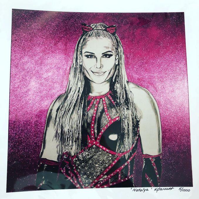 An oil portrait of professional wrestler, Natalya Neidhart by Kim Parrent.