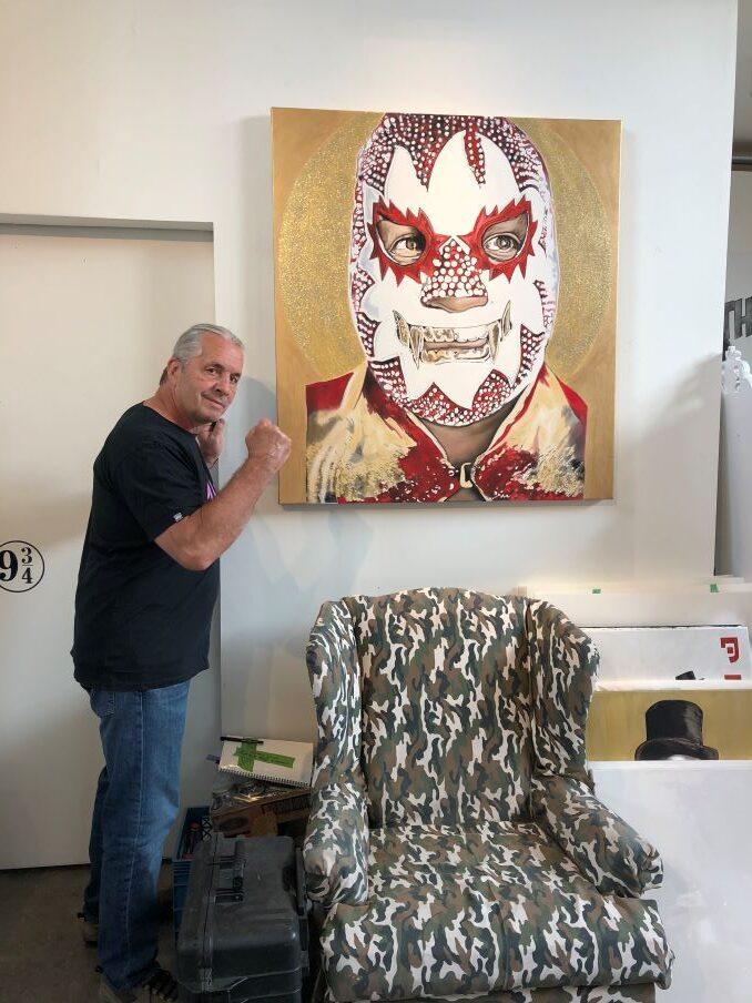 Bret Hart and Kim Parrent's oil paining of famous Mexican luchadore, El Solar.