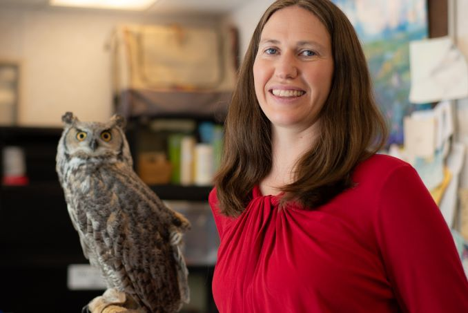 Bree Jones, Executive Director of The Calgary Wildlife Rehabilitation Society, and Ophelia, our resident Great Horned Owl