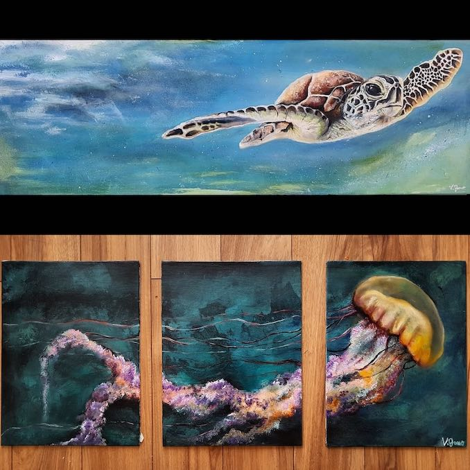 I recently went through a burst of creating a series of marine animal paintings. While I am cozied up in our Canadian winter, it is such a wonderful escape to explore the calm weightlessness and ease these creatures exude.
