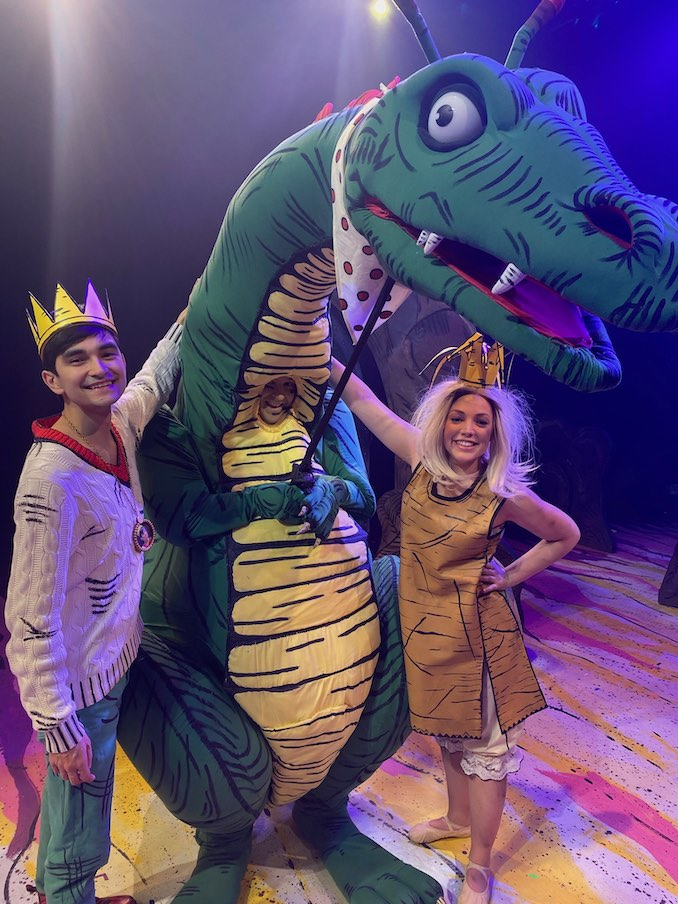 Jillian Bauer (Princess Elizabeth), Daniel Fong (Prince Ronald) and Steve Morton (Mr. Dragon) wrapping up production on the Paper Bag Princess, the Musical with Storybook Theatre.