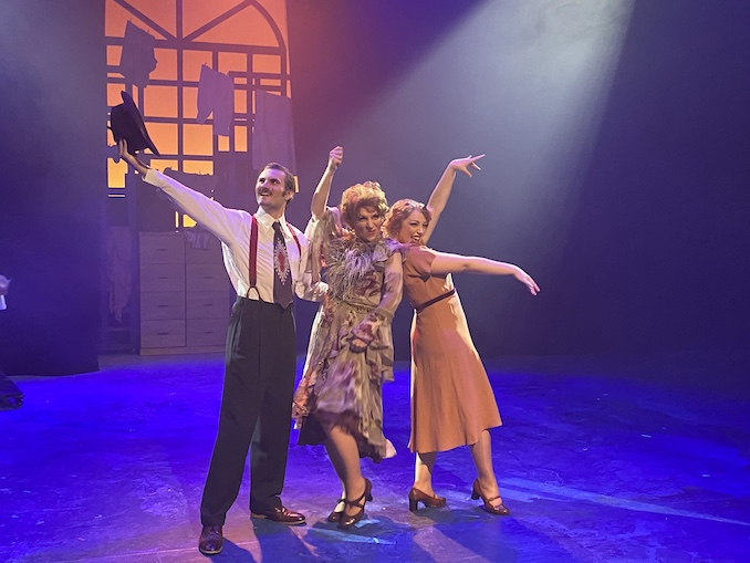 David Grof (Rooster), Amanda-Rae Cross (Ms. Hannigan) and Jillian Bauer (Lily St. Regis) performing Easy Street from Storybook Theatre's recent production of Annie the Musical.