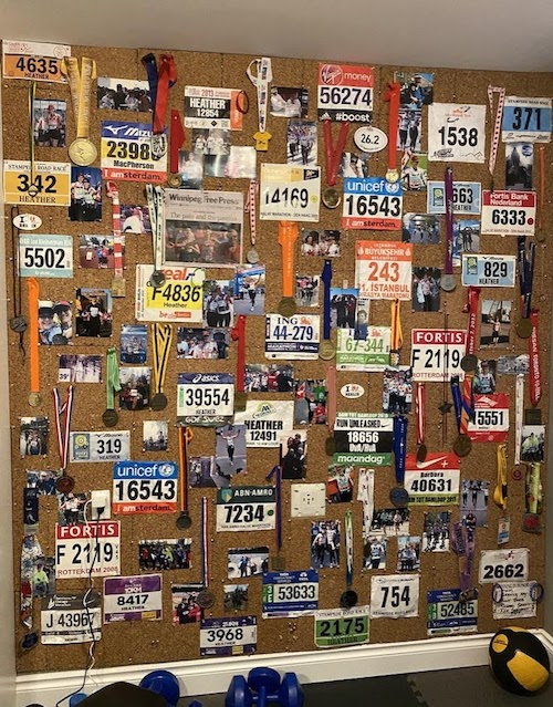 """Heather MacPherson - Though I am no longer running marathons, my """"shrine to sore toes"""", compiled over 15 marathons in 6 countries, serves as a daily reminder of the importance of keeping active, and the power of persistence and grit to enable accomplishing any goal."""