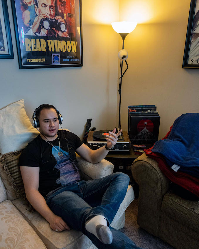 """Benjamin Wei Yi Mark - Listening to Miles Davis's record """"Kind Of Blue"""" on my record player."""