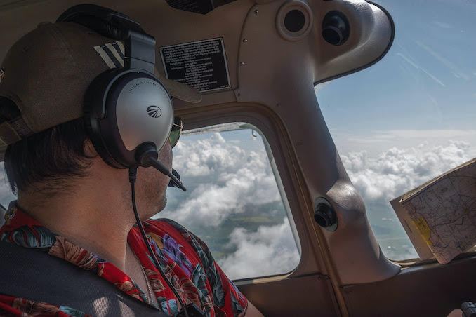 Flying a Cessna 172 through the clouds in style while en-route to Edmonton.