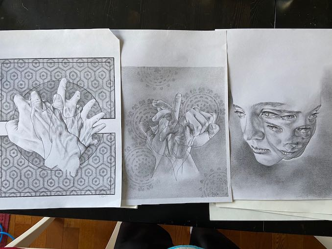 Here are three of the layered pieces I started experimenting with. I plan to do more and push the visual more but they are very time consuming and before I'm done I'm already feeling the desire to move on. I really do need to get around to framing some of these.