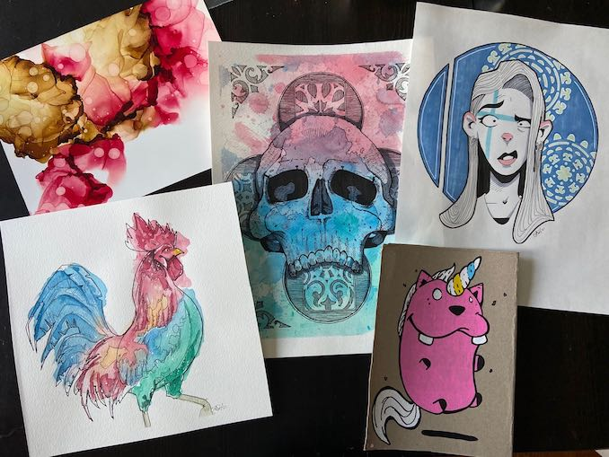 Chad Budyk - These pieces are examples of my more recent experiments with different mediums. Watercolour, alcohol ink and markers, and paint pens.