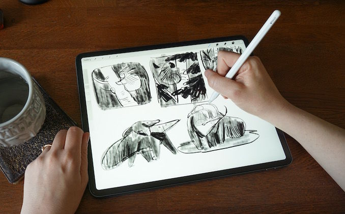 Kim Smith - I used to use paper and pencil for doing all my sketches, but I've since gone digital (and there's so much less graphite dust). I'm just working through some ideas for new picture books or illustrations. Recently, I've been drawing many woodland creatures and giant anteaters.