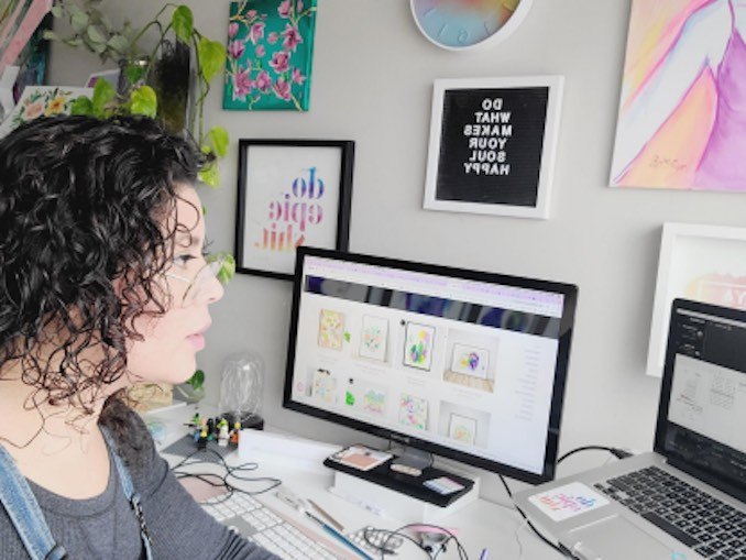 Maya Corona - Maya at the Studio. This is an everyday, checking emails, updating websites, and zoom calls with potential clients editing videos from paintings created, mockups to showcase my work as well as social media scheduling and creation.