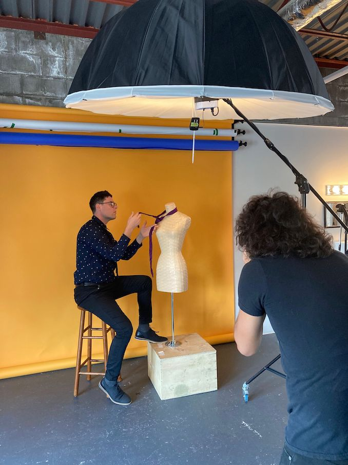 A BTS capture (credit: Rebecca Zahn) of my latest portrait shoot in my studio at Idle Eyes Collective with Doug Hoyer. I usually work alone, so it's rare to have BTS content!