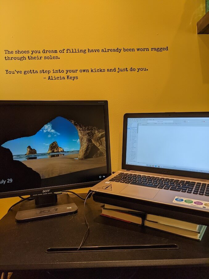 N.L. Blandford - The pandemic means I work from home. I get up an hour early and write. Then I close one laptop and open the other. It may have been more than a year, but books still make a great laptop stand! Daily I find inspiration in the quote from Alicia Keys, from her memoir More Myself. Imposter syndrome can take many authors over, even myself. I try hard to wear my own kicks.