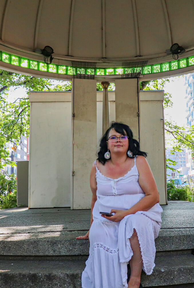 """Tamara Eaker - An Iconic landmark for Tamara, the Gazebo on the corner of 17th ave and 8th st S.W. """"When I was little I used to twirl and shout up to my echo in what I imagined to be my beautiful green roofed castle""""."""